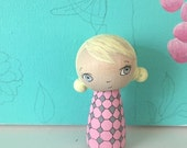 Wooden Doll, Kokeshi Doll, Peg Doll, Pink Ombre Hooded Girl