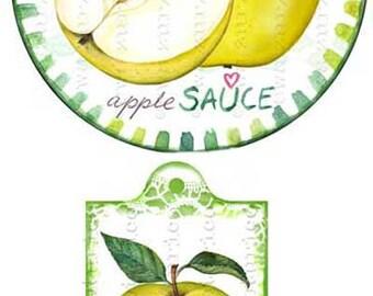 Circle jam label apple sauce label printable mason jar sticker homemade applesauce gift tags