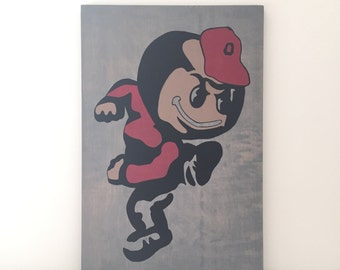 Ohio State Buckeyes, Ohio State Brutus Wood Wall Art, Buckeye Sign, Ohio State Sign, Distressed Sign