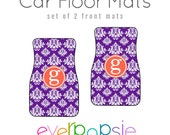 Damask Car Floor Mats Personalized Monogrammed