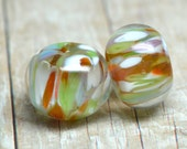 PAIR lampwork beads... SRA handmade, encased classic frits (pandora) pair for making jewelry MaDE to ORdeR