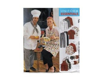 "Chef Costume or Food Services Uniform Jacket Shirt Apron Pants Hat Size M Lab Coat Sewing Pattern Chest 38""-40"" (97-102 cm) McCall's 2233 S"