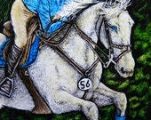 Original ACEO Scratchboard Art Card - JUMPER NITE - Horse Hunter Jumper Equestrian Event Miniature Painting Safyre Studios