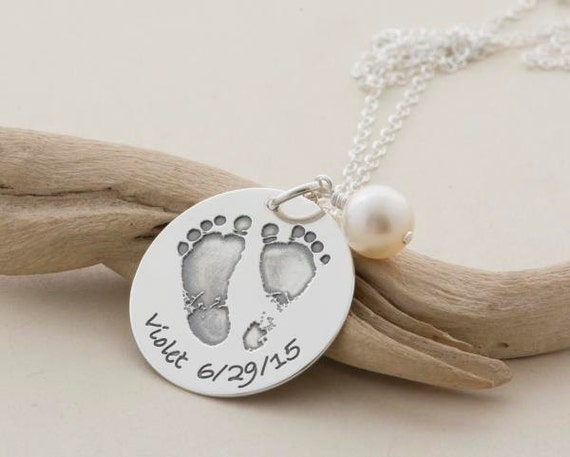Gift for MOM .. Your CHILD's actual Foot- and Handprint .. handmade sterling silver necklace with Your choice of name and date