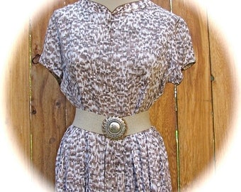 Vintage 1940s 1950s Rayon Brown Print Brown Piping Detail Waisted Gathered Skirt Dress Needs Belt Woman Size 10