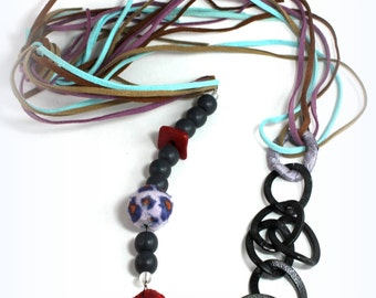 long chain necklace- multi media jewelry