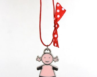 pink girl charm necklace