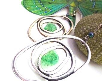 green oval hoops- sterling silver ear wires