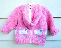 Vintage Baby - 18-24MO -  Lamb Sheep Hand Zip Up Back Hoodie Sweater Pink White Green Purple Grey