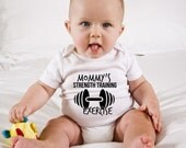 Mommy's Strength Training Exercise Baby Onesie