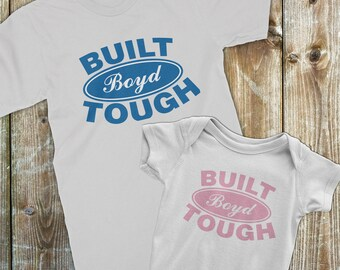 Dad and Baby Matching shirts, Ford Built Tough matching Dad and Baby Onesie, Father daughter matching outfit, Custom design your last name