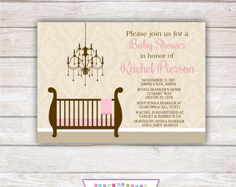 DAMASK PINK & BROWN. Baby Shower Invitation. Printable Party