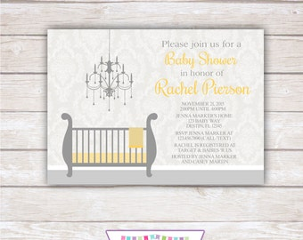 DAMASK BABY SHOWER. Yellow and Gray. Printable Invitation.