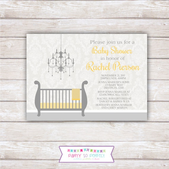 DAMASK BABY SHOWER. Yellow and Gray. Printable Invitation.