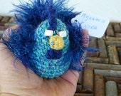 Crochet Chicken - NORA- Blue and Green Funky Chicken Amigurumi with beak piercing - Stuffed Animal -Chicken Plush-Chicken Decor- Crochet Art