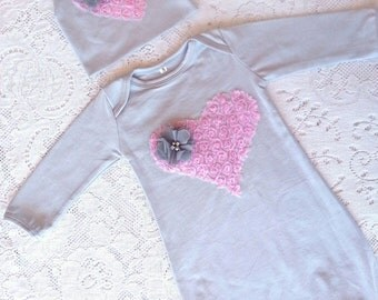 Baby Infant Layette Baby Gown, beanie hat set Grey, pink heart, flowers, rhinestones. Newborn girls, photos, going home outfit