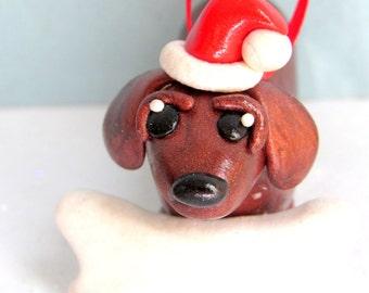 Dachshund Christmas Ornament Polymer Clay Dog Christmas Ornament Weiner Dog with Santa Hat Pet Ornaments