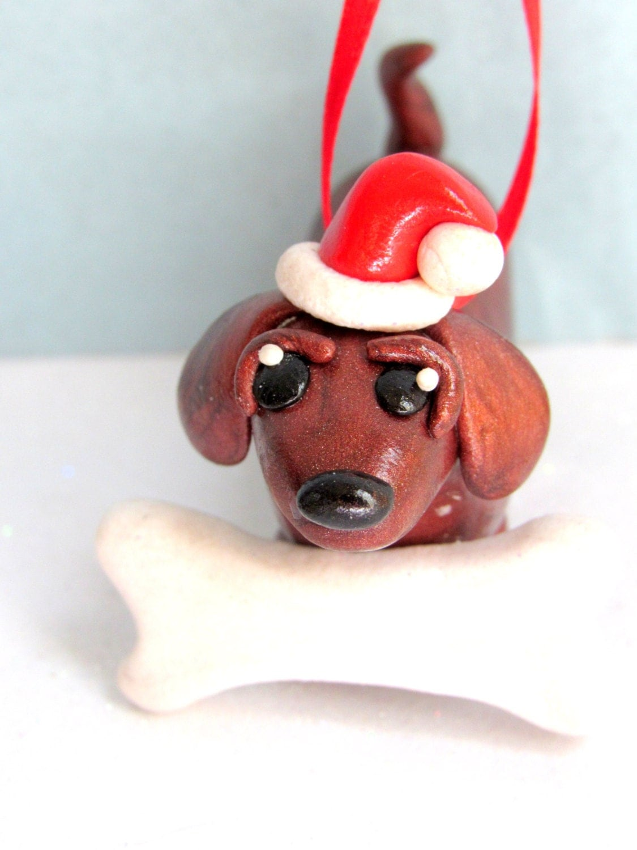 Dachshund christmas ornament polymer clay dog