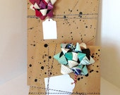 Splatter Gift Wrap pack with bows & twine / handmade recycled magazine bows / repurposed / color theme