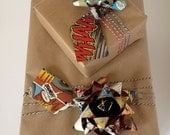 Comic Book Gift Wrap pack with bows & twine / handmade recycled comic bows / repurposed / superhero theme