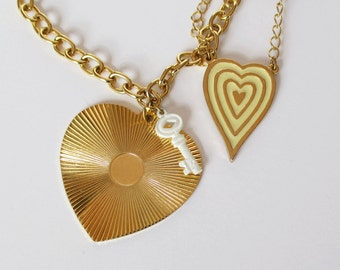 Double Heart Necklace Vintage Heart Necklace