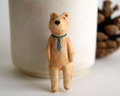 hand-painted porcelain brown bear pin