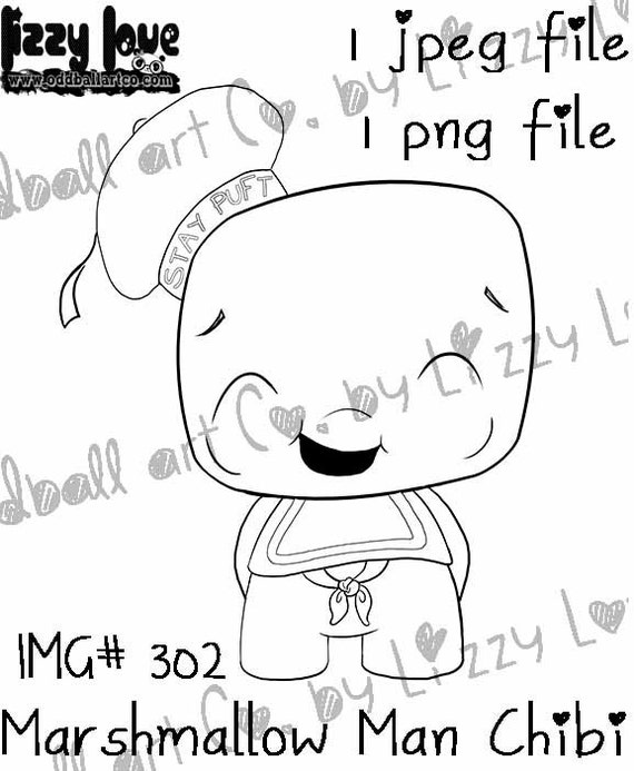 INSTANT DOWNLOAD Digi Stamp Cute Chibi Ghostbusters Tribute - Marshmallow Man Chibi Image No.302 by Lizzy Love