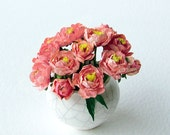 1:12 scale dollhouse peonies, apricot pink, handmade for the collector's dolls' house in 1/12th scale, great miniature gift.