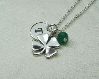 Initial Necklace Personalized Necklace Monogram Birthstone Necklace Four Leaf Clover Necklace St Patricks Gift Irish Shamrock Lucky Jewelry