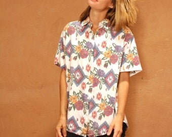 90s TWIN PEAKS sheer ROSE floral red & yellow slouchy oversize shirt blouse