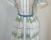 Vintage Blue Rose 50's Day Dress with Belt - M