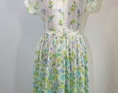 Vintage White Floral 50's Day Dress with Belt - M
