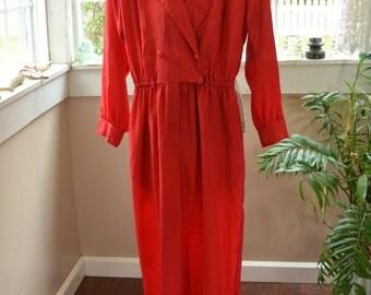 Vintage Shinny Red Pantsuit Jumpsuit - L (B1)