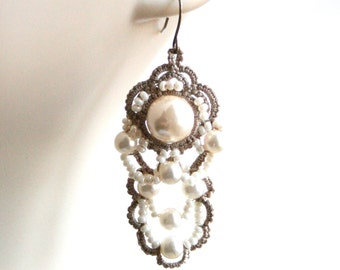 Pearl Fiber Tatting Dangle Chandelier Beaded Earrings