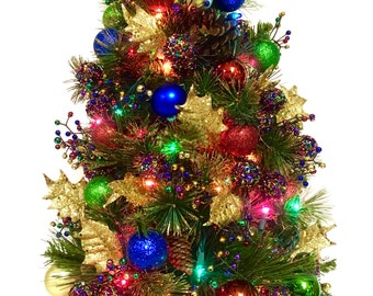 """TableTop Tree Bright Christmas Tree JEWELTONE PreLit Colored Lights 24"""" SHATTERPROOF Ornaments Blue Green Red Gold"""