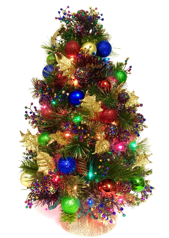 Tabletop tree bright christmas jeweltone prelit colored