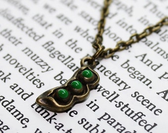Bronze Sweet Green Pea Pod Chain Necklace