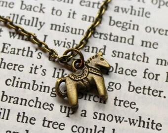 Bronze Tiny Dala Horse Chain Minimalist Necklace