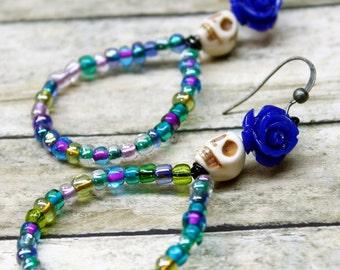Blue Roses Hoop Earrings Day of the Dead Sugar Skull Cute Jewelry