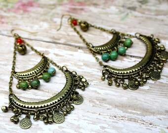 Gypsy Bronze Tone Chandelier Earrings with Turquoise and Bells Bohemian Jewelry