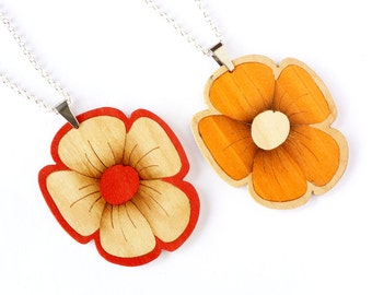 Flower necklace, Bridesmaids gifts, Wood flower necklace, Trendy jewelry, Woman necklace, Silver necklace, Wood accessories