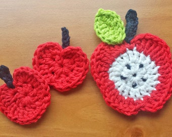 3 Crocheted Apple Appliques, Red Apple Sewing Appliques