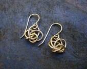 Love Knot Earrings / Small Gold Twist Earrings / Small Sterling Silver Twist Earrings / Silver Drop Earrings / Gold Drop Earrings