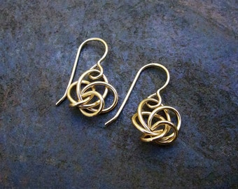 Love Knot Earrings / Small Gold Twist Earrings / Small Sterling Silver Twist Earrings / Silver Drop Earrings / Gold Drop Earrings