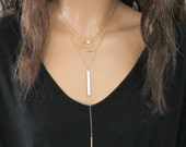 Y Necklace Gold, Delicate Y Drop Lariat Style, Simple Gold Layering Necklace, Long Necklace, Layered Necklace Bar Necklace