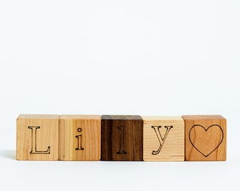 Your Choice of 5 Personalized Wooden Blocks // Create a Custom Name with these Natural, Organic Wood Block Toys for Baby Boy or Girl