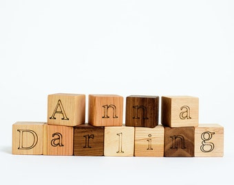 Your Choice of 11 Custom Wooden Blocks // Create a Baby Name Gift with these Natural, Eco Friendly Wood Block Toys for Baby Boy or Girl