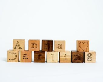 Your Choice of 12 Personalized Wooden Blocks // Create a Custom Name with these Natural, Organic Wood Block Toys for Baby Boy or Girl