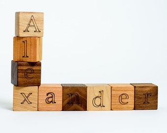 Your Choice of 9 Custom Wooden Blocks // Create a Baby Name Gift with these Natural, Eco Friendly Wood Block Toys for Baby Boy or Girl