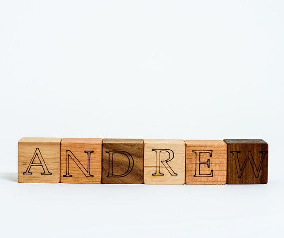 Your Choice of 6 Custom Wooden Blocks // Create a Baby Name Gift with these Natural, Eco Friendly Wood Block Toys for Baby Boy or Girl